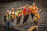 Construction workers at Trimet's Portland-Milwaukie Light Rail Bridge Project.