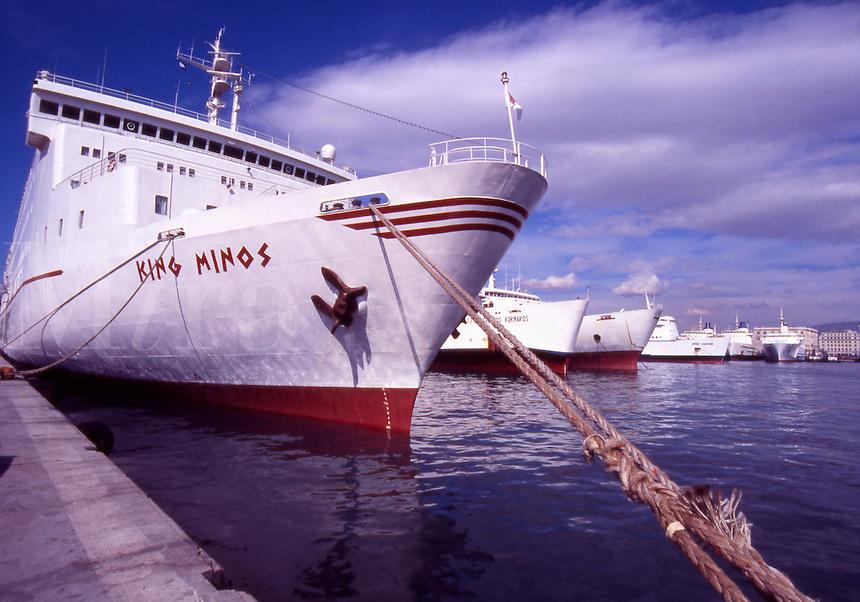 Greece. Ferry boats in Piraeus Harbor