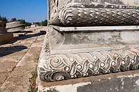 Picture of an architectural relief detail from the ruins of the Ancient Ionian Greek  Didyma Temple of Apollo & home to the Oracle of Apollo.  Also known as the Didymaion completed circa 550 BC. modern Didim in Aydin Province, Turkey.