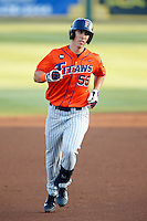 Michael Lorenzen #55 of the Cal State Fullerton Titans runs the bases after hitting a home run against the Long Beach State 49'ers at Blair Field on March 22, 2013 in Long Beach, California. (Larry Goren/Four Seam Images)