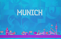 EM Spielort München auf der Videowand - 30.11.2019: UEFA EURO2020 Auslosung, Romexpo Bukarest, DISCLAIMER: UEFA regulations prohibit any use of photographs as image sequences and/or quasi-video.