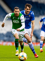 22nd May 2021; Hampden Park, Glasgow, Scotland; Scottish Cup Football Final, St Johnstone versus Hibernian; Martin Boyle of Hibernian and Callum Booth of St Johnstone compete for possession of