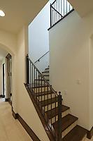 angular staircase with wood and tile steps