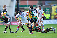 20121027 Copyright onEdition 2012©.Free for editorial use image, please credit: onEdition..Matt Stevens of Saracens charges upfield during the Aviva Premiership match between Northampton Saints and Saracens at Franklin's Gardens on Saturday 27th October 2012 (Photo by Rob Munro)..For press contacts contact: Sam Feasey at brandRapport on M: +44 (0)7717 757114 E: SFeasey@brand-rapport.com..If you require a higher resolution image or you have any other onEdition photographic enquiries, please contact onEdition on 0845 900 2 900 or email info@onEdition.com.This image is copyright the onEdition 2012©..This image has been supplied by onEdition and must be credited onEdition. The author is asserting his full Moral rights in relation to the publication of this image. Rights for onward transmission of any image or file is not granted or implied. Changing or deleting Copyright information is illegal as specified in the Copyright, Design and Patents Act 1988. If you are in any way unsure of your right to publish this image please contact onEdition on 0845 900 2 900 or email info@onEdition.com