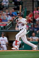 Rochester Red Wings Brent Rooker (19) at bat during an International League game against the Pawtucket Red Sox on June 28, 2019 at Frontier Field in Rochester, New York.  Pawtucket defeated Rochester 8-5.  (Mike Janes/Four Seam Images)