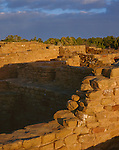 Mesa Verde National Park, CO<br /> Walls of the Far View Ruins colored by sunrise light