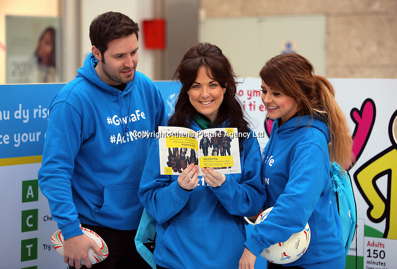 Pictured L-R: Ian Robson, Louisa Lorey and Sara Manchipp Saturday 18 Saturday<br />Re: Welsh Government Dementia Risk Prevention Roadshow at the Quadrant Shopping Centre in Swansea, Wales, UK.