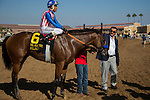 DEL MAR,CA-SEPTEMBER 05: Klimt,ridden by Rafael Bejarano, and the owner,Mr.Kaleem Shah, after winning the Del Mar Futurity at Del Mar Race Track on September 05,2016 in Del Mar,California (Photo by Kaz Ishida/Eclipse Sportswire/Getty Images)