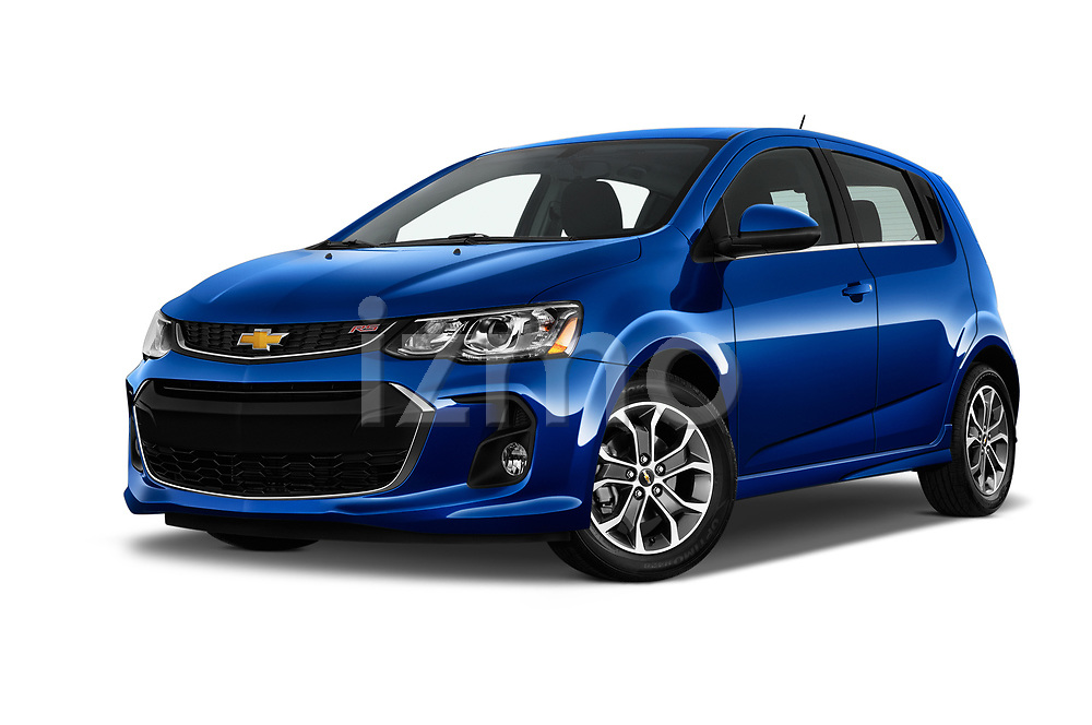 Stock pictures of low aggressive front three quarter view of 2019 Chevrolet Sonic LT-RS-Automatic Door Hatchback Low Aggressive