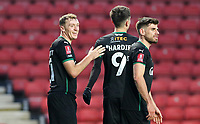Luke Jephcott of Plymouth Argyle celebrates his goal with Ryan Hardie of Plymouth Argyle and Joe Edwards of Plymouth Argyle during Charlton Athletic vs Plymouth Argyle, Emirates FA Cup Football at The Valley on 7th November 2020