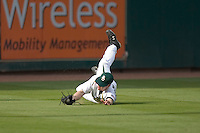 Left fielder Adam Hornung #20 of the Baylor Bears makes a diving catch versus the Houston Cougars in the 2009 Houston College Classic at Minute Maid Park February 27, 2009 in Houston, TX.  The Bears defeated the Cougars 3-2. (Photo by Brian Westerholt / Four Seam Images)