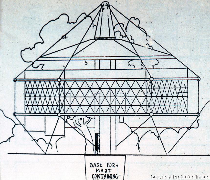 R. Buckminster Fuller: Dymaxion House, Elevation, 1927.  Photo '77.