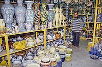 Ceramics, Nabeul, Tunisia.  Pottery Shop.  Dishware, Garden Jars for Domestic Market.