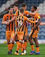 Hull City's Mallik Wilks is congratulated on scoring his team's opening goal<br /> <br /> Photographer Dave Howarth/CameraSport<br /> <br /> The EFL Sky Bet League One - Rochdale v Hull City - Saturday 17th October 2020 - Spotland Stadium - Rochdale<br /> <br /> World Copyright © 2020 CameraSport. All rights reserved. 43 Linden Ave. Countesthorpe. Leicester. England. LE8 5PG - Tel: +44 (0) 116 277 4147 - admin@camerasport.com - www.camerasport.com