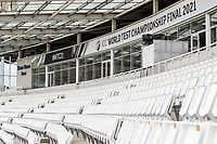 A general view of the Shane Warne stand at the Hampshire Rose Bowl during a training session ahead of the ICC World Test Championship Final at the Ageas Bowl on 17th June 2021