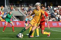 26 November 2017, Melbourne - MICHELLE HEYMAN (23) of Australia controls the ball during an international friendly match between the Australian Matildas and China PR at GMHBA Stadium in Geelong, Australia.. Australia won 5-1. Photo Sydney Low