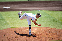 Wright State Raiders pitcher Austin Cline (3) delivers a pitch to the plate against the Duke Blue Devils in NCAA Regional play on Robert M. Lindsay Field at Lindsey Nelson Stadium on June 5, 2021, in Knoxville, Tennessee. (Danny Parker/Four Seam Images)