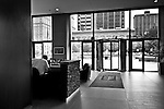 Key Bank Building Lobby, late afternoon in black & white