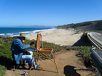 Most come to the coast to look at the ocean.  Artist Edwin Bertolet looked the other way and found something worthy of his time, his easel, his paints and his talent.