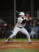 Sarasota Sailors Carson Long (2) bats during a game against the Riverview Rams on February 19, 2021 at Rams Baseball Complex in Sarasota, Florida. (Mike Janes/Four Seam Images)
