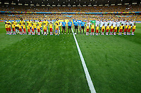 Brazil and Germany line up before the game
