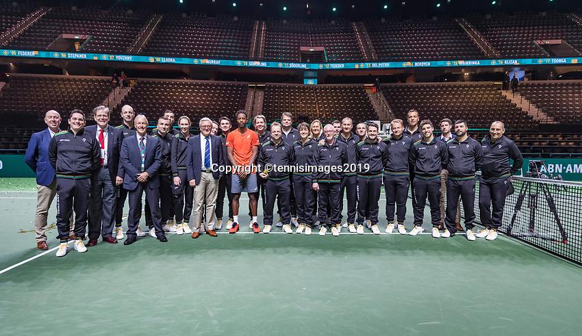Rotterdam, The Netherlands, 17 Februari 2019, ABNAMRO World Tennis Tournament, Ahoy, Final, Gael Monfils (FRA) winner,  between the linespeople and umpires<br /> Photo: www.tennisimages.com/Henk Koster