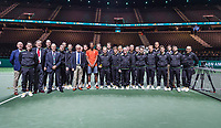 Rotterdam, The Netherlands, 17 Februari 2019, ABNAMRO World Tennis Tournament, Ahoy, Final, Gael Monfils (FRA) winner,  between the linespeople and umpires<br /> Photo: www.tennisimages.com/Henk Koster