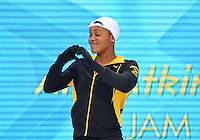 July 30, 2012..Alia Atkinson arrives on deck to compete in Women's 100m Breaststroke Final at the Aquatics Center on day three of 2012 Olympic Games in London, United Kingdom.