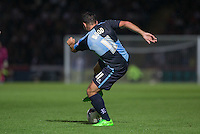 Sam Wood of Wycombe Wanderers turns with the ball during the Capital One Cup match between Wycombe Wanderers and Fulham at Adams Park, High Wycombe, England on 11 August 2015. Photo by Andy Rowland.