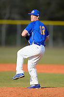 South Dakota State Jackrabbits pitcher Layne Somsen #12 poses for a photo after a game against the Ohio State Buckeyes at North Charlotte Regional Park on February 23, 2013 in Port Charlotte, Florida.  Ohio State defeated South Dakota State 5-2.  (Mike Janes/Four Seam Images)