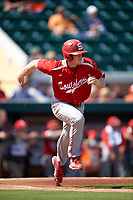 Florida Southern Moccasins Sam Machonis (32) runs to first base during an exhibition game against the Detroit Tigers on February 29, 2016 at Joker Marchant Stadium in Lakeland, Florida.  Detroit defeated Florida Southern 7-2.  (Mike Janes/Four Seam Images)