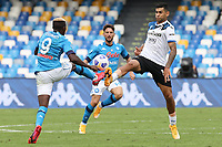 Victor Osimhen of SSC Napoli and Ruslan Malinovskyi of Atalanta BC compete for the ball<br /> during the Serie A football match between SSC Napoli and Atalanta BC at stadio San Paolo in Napoli (Italy), October 17th, 2020. <br /> Photo Cesare Purini / Insidefoto