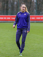 Tessa Wullaert (27 Anderlecht) pictured during the warm up before  a female soccer game between Standard Femina de Liege and RSC Anderlecht on the 9th matchday of the 2020 - 2021 season of Belgian Scooore Womens Super League , saturday 12 th of December 2020  in Angleur , Belgium . PHOTO SPORTPIX.BE | SPP | SEVIL OKTEM