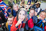 © Joel Goodman - 07973 332324 . 14/10/2016 . Manchester , UK . School children from St Philips' RC Primary School in Prestwich wait for the arrival of the Duke and Duchess of Cambridge outside the National Football Museum , on a visit Manchester . Photo credit : Joel Goodman