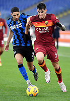 Achraf Hakimi of FC Internazionale and Roger Ibanez of AS Roma during the Serie A football match between AS Roma and FC Internazionale at Olimpico stadium in Roma (Italy), January 10th, 2021. Photo Andrea Staccioli / Insidefoto