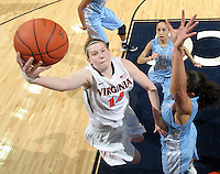 CHARLOTTESVILLE, VA- JANUARY 5: Lexie Gerson #14 of the Virginia Cavaliers shoots over North Carolina Tar Heel defenders during the game on January 5, 2012 at the John Paul Jones arena in Charlottesville, Virginia. North Carolina defeated Virginia 78-73. (Photo by Andrew Shurtleff/Getty Images) *** Local Caption *** Lexie Gerson