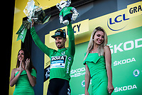 Points classification leader Peter Sagan (SVK/Bora Hansgrohe) on podium to receive the green jersey. <br /> <br /> Stage 4: Reims to Nancy (215km)<br /> 106th Tour de France 2019 (2.UWT)<br /> <br /> ©kramon