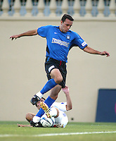 Earthquakes Defender Ramiro Corrales fights for the ball against Wizards Defender during the second half of the game at San Jose Spartan Stadium in San Jose, California on June 28th, 2003.   Earthquakes and Wizards are tied 0-0 in overtime.