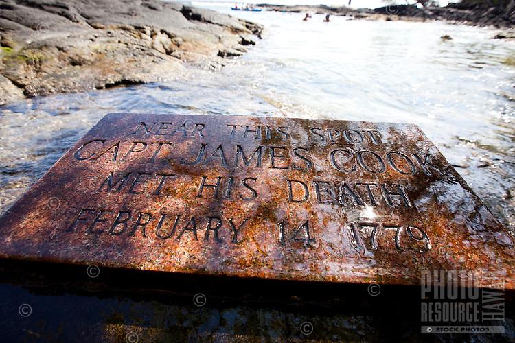 A plaque in memoriam of Captain James Cook, Kealakekua Bay, Big Island