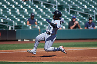 Salt River Rafters Ronaldo Hernandez (24), of the Tampa Bay Rays organization, slides into third base during the Arizona Fall League Championship Game against the Surprise Saguaros on October 26, 2019 at Salt River Fields at Talking Stick in Scottsdale, Arizona. The Rafters defeated the Saguaros 5-1. (Zachary Lucy/Four Seam Images)