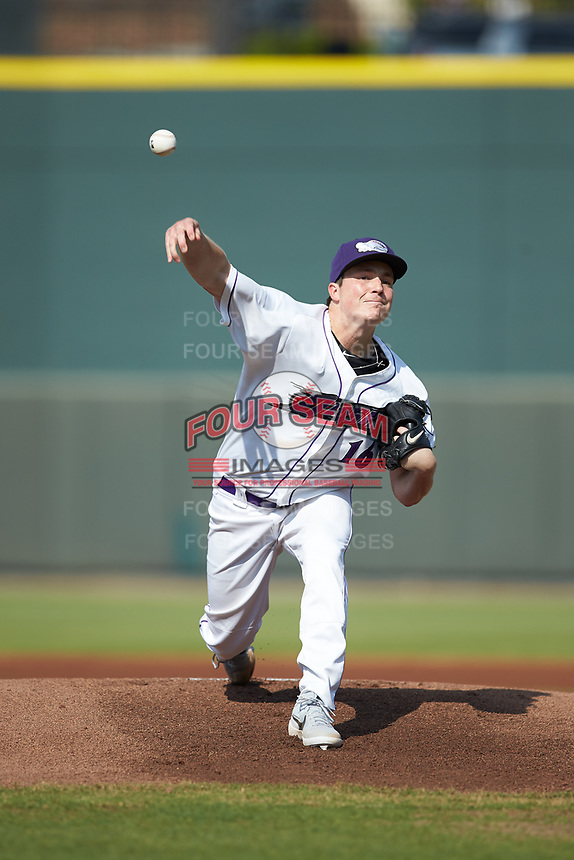Winston-Salem Dash starting pitcher Jordan Stephens (16) delivers a pitch to the plate against the Carolina Mudcats at BB&T Ballpark on June 1, 2019 in Winston-Salem, North Carolina. The Mudcats defeated the Dash 6-3 in game one of a double header. (Brian Westerholt/Four Seam Images)