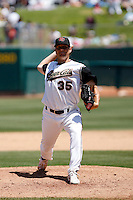 Steven Sharpe  -  Sacramento RiverCats  playing against the Round Rock Express at Raley Field, Sacramento, CA - 05/19/2009.Photo by:  Bill Mitchell/Four Seam Images