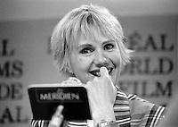 Montreal, Canada - File Photo - French filmmaker Michel Deville (M) and actress MIOU MIOU (R) news conference at the World Film Festival, August 31, 1988.<br /> <br /> Photo :  Agence Quebec Presse - Pierre Roussel