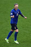 11th July 2021; Wembley Stadium, London, England; 2020 European Football Championships Final England versus Italy; Federico Bernardeschi celebrates scoring his penalty shootout attempt