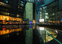 Berlin Germany- 2008 File Photo -<br /> Sony Center at night,  Potsdamer Platz.<br /> <br /> The Sony Center is a Sony-sponsored building complex located at the Potsdamer Platz in Berlin, Germany. It opened in 2000.<br /> <br /> The site was originally a bustling city center in the early 20th Century. After World War II, the area suffered a sharp decline and was eventually left abandoned. As part of a redevelopment effort for the area, the center was constructed. The centre was designed by Helmut Jahn and construction was completed in 2000 at a total cost of US$800M (approximately EU€860M). In February 2008 Sony sold Berlin's Sony Center for less than EU€600M (approximately US$880M) to a group of German and US investment funds, including investment bank Morgan Stanley, Corpus Sireo and an affiliate of The John Buck Company [1].