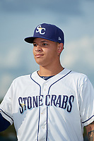 Charlotte Stone Crabs pitcher Tobias Myers (19) during introductions before a Florida State League game against the Fort Myers Miracle on April 6, 2019 at Charlotte Sports Park in Port Charlotte, Florida.  Fort Myers defeated Charlotte 7-4.  (Mike Janes/Four Seam Images)