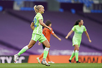 21st August 2020, San Sebastian, Spain;  Pernille Harder of Vfl Wolfsburg celbrates after scoring the opening goal for Vfl Wolfsburg 0-1 during the UEFA Womens Champions League football match Quarter Final between Glasgow City and VfL Wolfsburg.