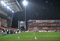 2nd January 2021; Kingsholm Stadium, Gloucester, Gloucestershire, England; English Premiership Rugby, Gloucester versus Sale Sharks; snow falls while Sale Sharks attack the Gloucester line