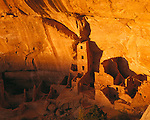 Sunset light on the Square Tower House in the Anasazi Cliff Dwellings in Mesa Verde National Park, Colorado