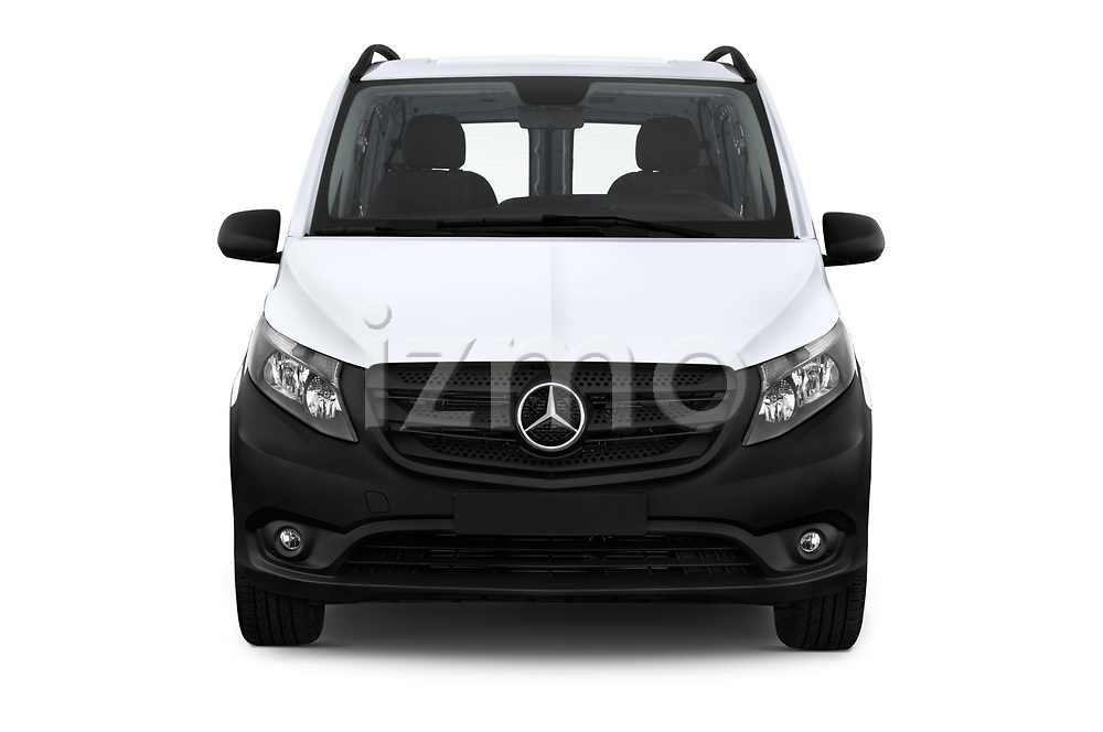 Car photography straight front view of a 2019 Mercedes Benz Metris Base 5 Door Cargo Van